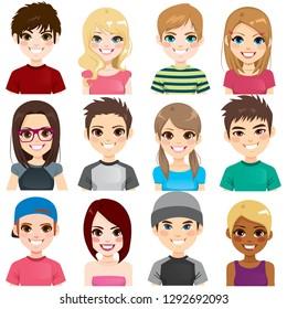 Kollektion von zwölf verschiedenen Gruppen Teenager Menschen Avatar Porträts lächelnd