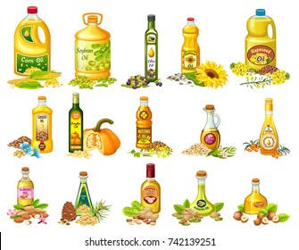 Collection set vegetable oils with labels. Isolated vector illustration.