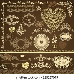 Collection, set of vintage detailed floral Valentines design elements