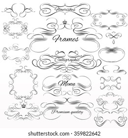 Collection or set of vintage styled calligraphic frames from  flourishes