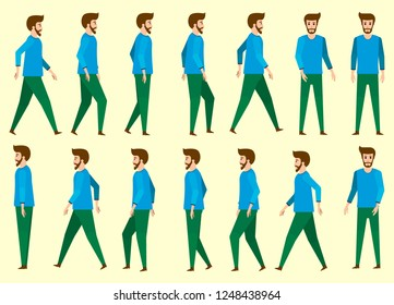 Collection set of Walking Bearded main characters. sprite frame loop. Walk. Active. Variety of movements. Flat   cartoon isolated style. front view, Oblique view, Side view. Simple design.