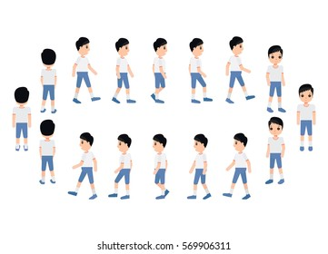 Collection set of Walking Boy. sprite frame loop. Walk. Active. Variety of movements. Flat Character cartoon style. front view and haft front view. Simple design. Vector