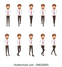Collection set of Walking businessman. sprite  frame loop. Walk. Active. Variety of movements. Flat Character cartoon style. front view and haft front view. Simple design. Vector