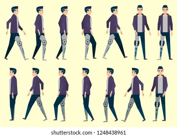 Collection set of Walking Disabled people use artificial limbs with AI system. sprite frame loop. Walk Active. Variety of movements. Flat Character cartoon style. front view, Oblique view. side view.