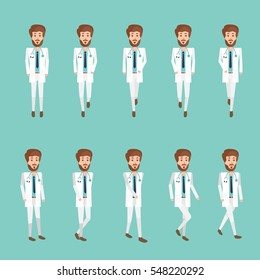 Collection set of Walking Doctor. sprite  frame loop. Walk. Active. Variety of movements. Flat Character cartoon style. front view and haft front view. Simple design. Vector