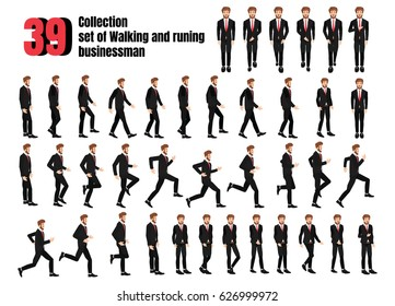 Collection set of Walking and running businessman. sprite frame loop. Walk.run. Active. Variety of movements. Flat Character cartoon style. front view, haft front view, Side view. Vector.