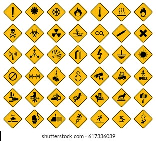 Collection set of warning sign on yellow background. Danger sign, symbol, illustration