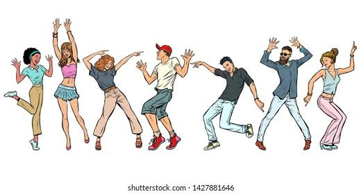 collection set. young people dancing. men women boys girls. Pop art retro vector illustration kitsch vintage