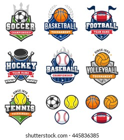 Collection of seven badges and insignias of the most famous sports in the world, with very nice themed cartoon equipments illustrations.