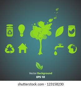 Collection of several ecological icons. Vector design.