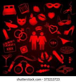 Collection of sex objects icons on red and black background. Vector illustration.
