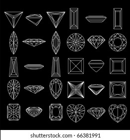 Collection  shapes of diamond against black background