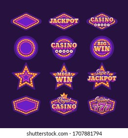 Collection of shining purple retro casino signs