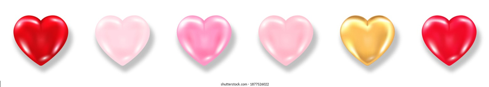 Collection of shiny 3d hearts with shadow isolated on white background. Valentines day glossy balloon red, pink and golden hearts. Realistic vector illustration of love symbol.
