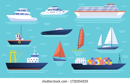 Collection of ships and sailboats on the ocean with a passenger liner, luxury yachts, speedboat, tanker, container ship, dinghy and sailboat, colored vector illustration