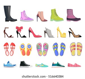 Collection of shoes types icons. Modern colourful female footwear. Casual, classic, platform, heel, ballet, spiked, sandals, moccasins, leather, flip-flop, loafer. Flat design. Vector illustration