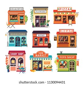 Collection of shop buildings isolated on white background. Stores selling baked and farm products, pizza, flowers, books, wine, meat, candies, toys. Colorful vector illustration in cartoon flat style