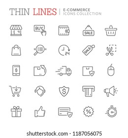 Collection of shopping and e-commerce related line icons