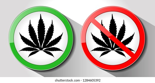 collection sign marijuana, no marijuana sign and allow marijuana sign, vector illustration, isolated on white background.