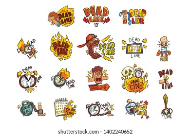 Collection of signs with Deadline word, time limit, stress and burnout symbols vector Illustration on a white background