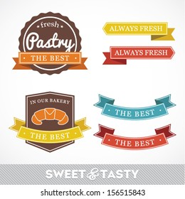 Collection of signs labels with BAKERY text and sweet pastry, pastry factory labels concept, vector illustration