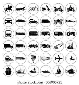 Collection of signs presenting different modes of transport on land, water and in the air. Vintage and modern means of transportation. Transportation icons. Vector illustration.