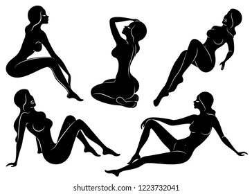 Collection. Silhouette of a cute lady, she sits. The girl has a beautiful nude figure. Woman - young sexy and slim model. Set of vector illustrations.