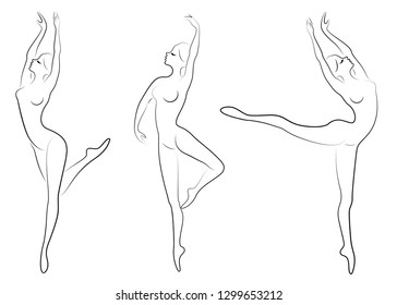Collection. Silhouette of a cute lady, she is dancing ballet. The girl has a slim beautiful figure. Woman ballerina. Vector illustration set.