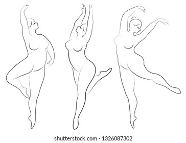 Collection. Silhouette of a cute lady, she is dancing ballet. Woman is overweight. The girl is plump and slim. Woman ballerina, gymnast. Vector illustration set.