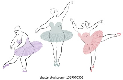 Collection. Silhouette of a cute lady, she is dancing ballet. Woman is overweight. The girl is plump and slim. Woman is ballerina, gymnast. Vector illustration set.