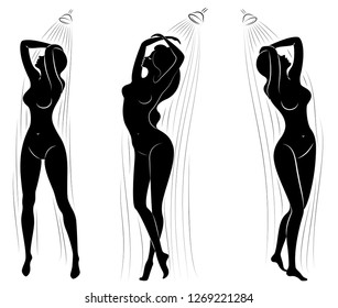 Collection. Silhouette of a cute young lady. The girl washes under a stream of water in the shower. The woman has a slim beautiful figure. Vector illustration set.