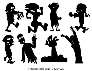 Collection of silhouette halloween characters including zombies and vampires