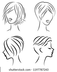 Collection. Silhouette of the head of a cute lady. The girl shows her hair for short and medium hair. Suitable for logo, advertising. Set of vector illustrations.