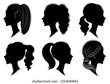 Collection. Silhouette of the head of a cute lady. The girl shows the female hairstyle tail on medium and long hair. Suitable for logo, advertising. Vector illustration set.