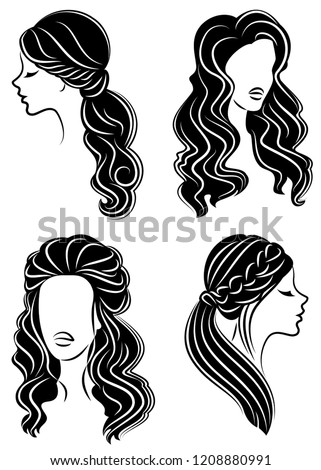 Collection Silhouette Head Cute Lady Girl Stock Vector Royalty Free