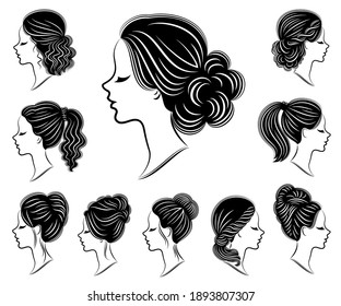 Collection. Silhouette of the lovely lady heads. The girl demonstrates hairstyles for long and medium hair. Suitable for logo, advertising. Vector illustration set.
