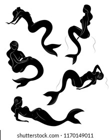 Collection. Silhouette of a mermaid. Girls bathe and sit on a rock in a beautiful pose. The lady is young and slender. Fantastic image of a fairy tale. Set of vector illustrations.