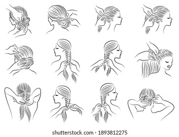 Collection. Silhouette profile of the head of a lovely lady. The girl braids her long hair in braids with her hands, does her hair. Set of vector illustrations.