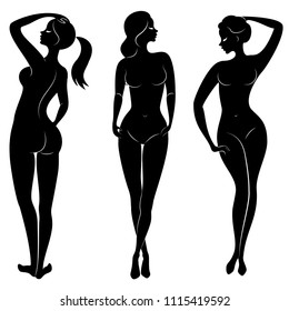 Collection. Silhouette of a sweet lady. The girl has a beautiful nude figure. A woman is a young sexy and slender model. Set of vector illustrations.