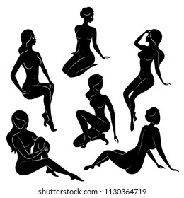 Collection. Silhouette of a sweet lady, she is sitting. The girl has a beautiful nude figure. A woman is a young sexy and slender model. Set of vector illustrations.