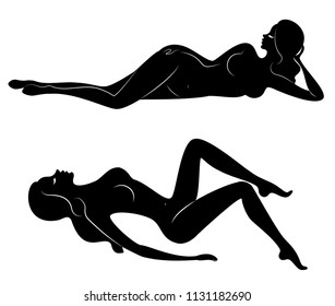 Collection. Silhouette of a sweet lady, she lies. The girl has a beautiful nude figure. A woman is a young sexy and slender model. Set of vector illustrations.