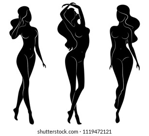 Collection. Silhouette of a sweet lady, she's coming. The girl has a beautiful nude figure. A woman is a young sexy and slender model. Set of vector illustrations.