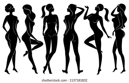 Collection. Silhouette of a sweet lady, she's standing. The girl has a beautiful nude figure. A woman is a young sexy and slender model. Set of vector illustrations.