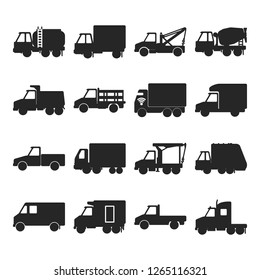 Collection of silhouette truck icons in flat style