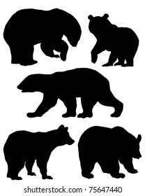 A collection of silhouettes of bears