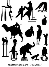 A collection of silhouettes of characters of the circus