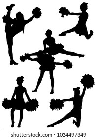 Collection of silhouettes of children of cheerleaders.