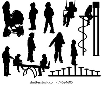 A collection of silhouettes of children playing