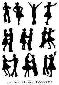 Collection of silhouettes of dancing children