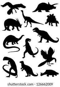 Collection of silhouettes of dinosaurs